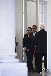French President Emmanuel Macron and Board of Directors member of campaigning and advocacy organization ONE, Irish lead singer of rock band U2, Bono at Elysee Palace in Paris on september 10, 2018. Photo by ELIOT BLONDET/ABACAPRESS.COM