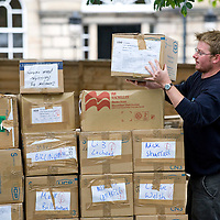 A member of staff loads up a pallet full of books on the last public Day of the Edinburgh International Book Festival, August 29th, 2011.