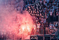 09.05.2018, Woerthersee Stadion, Klagenfurt, AUT, OeFB Uniqa Cup, SK Puntigamer Sturm Graz vs FC Red Bull Salzburg, Finale, im Bild Sturm Gratzs Fans zünden Bengalische Feuer // during the final match of the ÖFB Uniqa Cup between SK Puntigamer Sturm Graz and FC Red Bull Salzburg at the Woerthersee Stadion in Klagenfurt, Austria on 2018/05/09. EXPA Pictures © 2018, PhotoCredit: EXPA/ Johann Groder