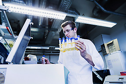 Young male scientist examining test tube in a pharmacy laboratory, Freiburg Im Breisgau, Baden-Wuerttemberg, Germany