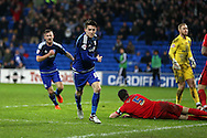 Joe Mason of Cardiff city © celebrates  after he scores his teams 1st goal. Skybet football league championship match, Cardiff city v Blackburn Rovers at the Cardiff city stadium in Cardiff, South Wales on Saturday 2nd Jan 2016.<br /> pic by Andrew Orchard, Andrew Orchard sports photography.