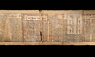 Ancient Egyptian Book of the Dead papyrus - Spell 126 - what to say in the judgement before Osiris, Iufankh's Book of the Dead, Ptolemaic period (332-30BC).Turin Egyptian Museum.  Black background<br /> <br /> Spell 125 instruct the deceased as to waht to say infront of Osiris and the Forty Two Judges in the Hall of Two Maat, the netherworlds Judgement Hall. <br /> <br /> The translation of  Iuefankh's Book of the Dead papyrus by Richard Lepsius marked a truning point in the studies of ancient Egyptian funereal studies. .<br /> <br /> If you prefer to buy from our ALAMY PHOTO LIBRARY  Collection visit : https://www.alamy.com/portfolio/paul-williams-funkystock/ancient-egyptian-art-artefacts.html  . Type -   Turin   - into the LOWER SEARCH WITHIN GALLERY box. Refine search by adding background colour, subject etc<br /> <br /> Visit our ANCIENT WORLD PHOTO COLLECTIONS for more photos to download or buy as wall art prints https://funkystock.photoshelter.com/gallery-collection/Ancient-World-Art-Antiquities-Historic-Sites-Pictures-Images-of/C00006u26yqSkDOM
