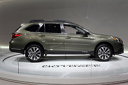 """12 February 2015:  2015 SUBARU OUTBACK: As a midsize crossover SUV, the 2015 Subaru Outback is the roomiest, most capable and highest fuel-efficiency model in the vehicle's 20-year history.  Available in the 2.5i, 2.5i Premium, 2.5i Limited and 3.6R Limited editions, each Outback is a five-passenger vehicle with standard-equipped symmetrical all-wheel drive. The 2.5i four-cylinder horizontally opposed (Boxer) engine develops 175-horsepower, and comes with standard Active Grille Shutter system that helps to improve fuel economy by reducing wind resistance. For increased performance, the 3.6R horizontally opposed (Boxer) six-cylinder engine offers 256-hp.  Standard on Outback models is the CVT (continuously variable transmission) featuring steering wheel paddle switches for six-speed step shifting.  Added as standard for 2015 are X-Mode, Hill Descent Control and Hill Start Assist augment symmetrical AWD to assist the driver in navigating rough roads, slippery surfaces or steep inclines. While maintaining a similar footprint as the model it replaces, the vehicle has increase passenger volume and cargo capacity. With the standard 60/40 split rear seatbacks folded, there is a maximum 71.3 cu. ft. of open cargo room.  The 2015 Outback offers significantly improved infotainment system that includes a 6.2"""" high resolution single-touch screen display, Subaru STARLINK, AM/FM Stereo HD Radio with single-disc CD Player, Aha and Pandora, Bluetooth audio-streaming and hands-free phone connectivity, Radio Broadcast Data System (RBDS), iPod Control and iTunes Tagging capabilities, USB Port, auxiliary input jack, four-speakers, and a rear glass audio antenna.  Added safety comes from the rear-view camera that is standard equipped on all models.  The new Outback is built at Subaru of Indiana Automotive (SIA) zero-landfill production plants.<br /> <br /> First staged in 1901, the Chicago Auto Show is the largest auto show in North America and has been held more times than any other au"""