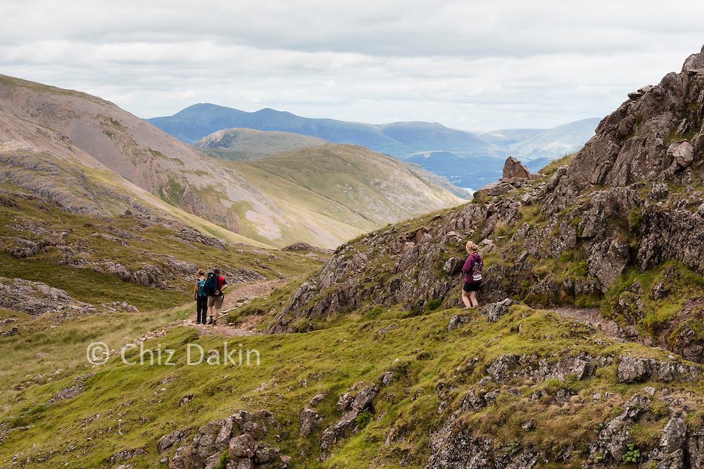 Walkers descending the Corridor Route from from Piers Gill