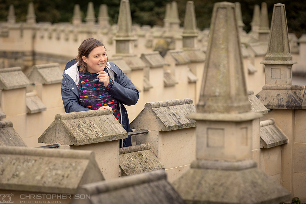 Comedian Josie Long at Bolsover Castle, Derbyshire where she recorded an episode of her podcast, Speaking with Shadows.<br /> Picture date: Thursday October 7, 2021.<br /> Photograph by Christopher Ison for English Heritage ©<br /> 07544044177<br /> chris@christopherison.com<br /> www.christopherison.com