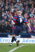 Photo:Alan Crowhurst,  Digitalsport<br /> NORWAY ONLY<br /> <br /> CRYSTAL PALACE v WALSALL,Nationwide Division One,01/05/2004.Andy Johnson scores from the rebound after his penalty was saved.