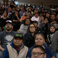A Miyamura fan not so happy to be at the game. Later they would cheer after the victory in OT  during the 4A -District Tournament Championship game at Gallup High School Saturday.