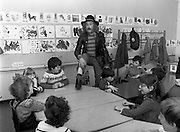 In preparation for the Central Remedial Clinic's charity 'Jogathon', television celebrity and poet Pat Ingoldsby visits children at the centre. The Jogathon would be led by eight major celebrities, including comedian Brendan Grace and rugby international Ciaran Fitzgerald.<br /> 19 May 1982