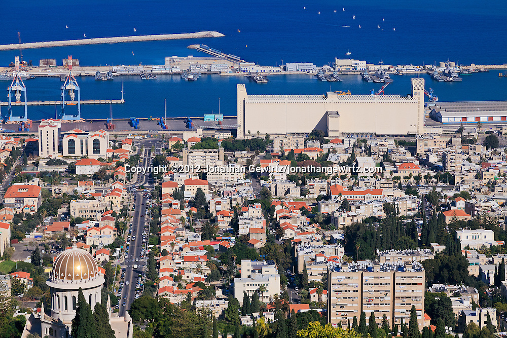 Haifa's German Colony, Bahai temple, Sderot Ben Gurion (street) and port are visible in this view from the slopes of Mount Carmel. WATERMARKS WILL NOT APPEAR ON PRINTS OR LICENSED IMAGES.