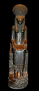 Black granite statues of Sekhmet in the British Museum, London. From Karnak, Thebes, Egypt  18th Dynasty, 1360 BC.  The goddess Sekhmet is associated with destruction.