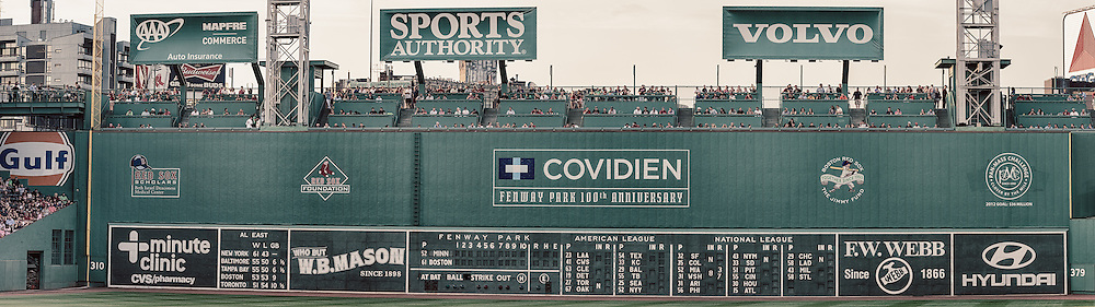 [Note: This panoramic photo was created by stitching together multiple exposures during post-processing.] The Green Monster inside Fenway Park.