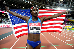 USA's Tori Bowie celebrates winning gold in the Women's 100m Final during day three of the 2017 IAAF World Championships at the London Stadium.