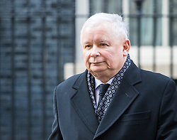 Downing Street, London, March 23rd 2017. Polish conservative Law and Justice Party leader and Eurosceptic Jaroslaw Kaczynski in a rare move addresses the media after talks at 10 Downing Street with British Prime Minister Theresa May.