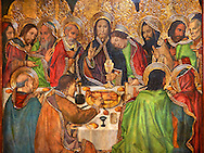 Gothic Altarpiece depicting the Last Supper (Sant Sopar) by Jaume Huguet, circa 1463 - 1475, Tempera and gold leaf on wood, from the convent of Sant Augusti Vell, Barcelona.  National Museum of Catalan Art, Barcelona, Spain, inv no: MNAC  40412. .<br /> <br /> If you prefer you can also buy from our ALAMY PHOTO LIBRARY  Collection visit : https://www.alamy.com/portfolio/paul-williams-funkystock/gothic-art-antiquities.html  Type -     MANAC    - into the LOWER SEARCH WITHIN GALLERY box. Refine search by adding background colour, place, museum etc<br /> <br /> Visit our MEDIEVAL GOTHIC ART PHOTO COLLECTIONS for more   photos  to download or buy as prints https://funkystock.photoshelter.com/gallery-collection/Medieval-Gothic-Art-Antiquities-Historic-Sites-Pictures-Images-of/C0000gZ8POl_DCqE