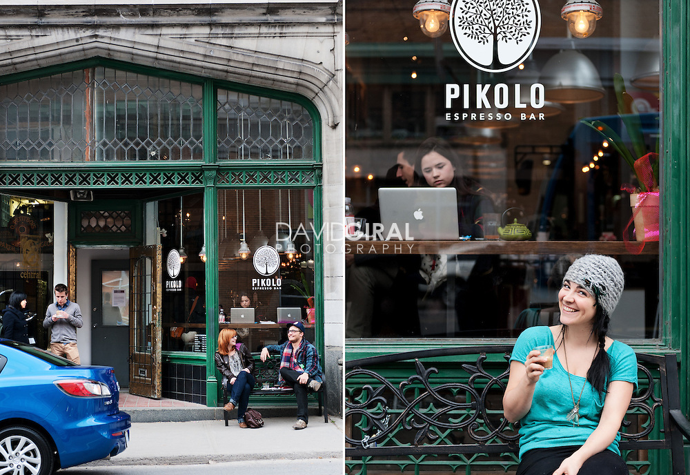 editorial travel photography: Pikolo café, Montreal, Canada
