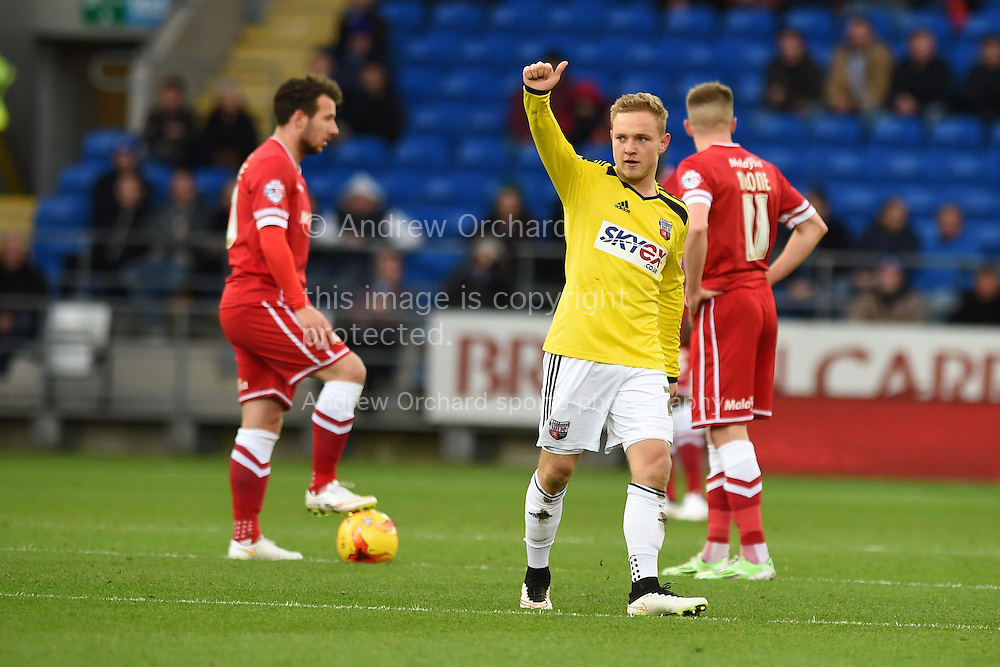 Alex Pritchard © of Brentford celebrates after he scores his teams 1st goal. Skybet football league championship match, Cardiff city v Brentford at the Cardiff city stadium in Cardiff, South Wales on Saturday 20th December 2014<br /> pic by Andrew Orchard, Andrew Orchard sports photography.