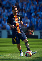 September 14, 2018 - San Sebastian, U.S. - SAN SEBASTIAN, SPAIN - SEPTEMBER 15:   Leo Messi, of FC Barcelona with the ball before the La Liga match between Real Sociedad and FC Barcelona on September 15, 2018, at Anoeta Stadium in San Sebastian, Spain. (Photo by Carlos Sanchez Martinez/Icon Sportswire) (Credit Image: © Carlos Sanchez Martinez/Icon SMI via ZUMA Press)
