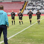 Referee Deniz Coban (C) during their Turkish Super League soccer match Akhisar Belediye Genclik Spor between Fenerbahce at the 19 Mayis Stadium in Manisa Turkey on Sunday, 28 September 2014. Photo by TURKPIX