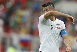 MOSCOW, June 19, 2018  Robert Lewandowski of Poland reacts after a Group H match between Poland and Senegal at the 2018 FIFA World Cup in Moscow, Russia, June 19, 2018. Senegal won 2-1. (Credit Image: © Cao Can/Xinhua via ZUMA Wire)