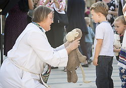 September 30, 2018 - Santa Barbara, California, USA - The REV. LAUREL JOHNSTON performs the blessing of the animals -- live and stuffed -- at Trinity Episcopal Church. (Credit Image: © PJ Heller/ZUMA Wire)