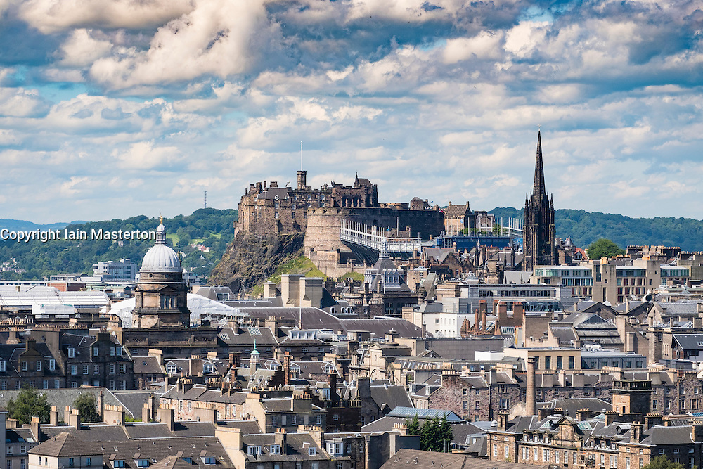 Skyline of city of Edinburgh and castle  from Salisbury Crags in Scotland United Kingdom