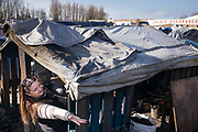 Calais, France, 27 feb 2015, Situation of the migrants in Calais, living in jungles. Leader price,