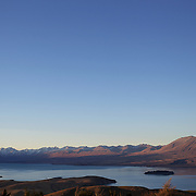 The view from the top of Mount John overlooking Lake Tekapo and Mackenzie Country, South Island, New Zealand. Mount John is also the home of the Mount John University Observatory, Lake Tekapo has one of the most spectacular night skies in the world. 16th June 2011