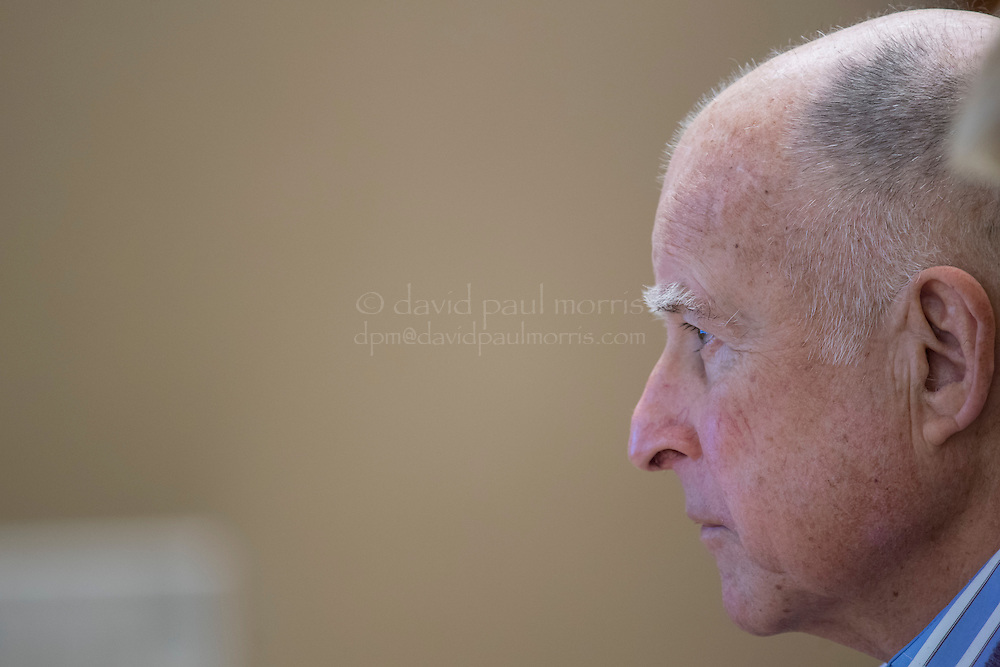 """Jerry Brown, governor of California, speaks during an interview at the State Capitol in Sacramento, California, U.S., on Thursday, March 2, 2017. Brown said the state's retirement system is """"probably"""" going to lower its investment-return goal again, a move that will further pressure local governments already straining under rising pension costs. Photographer: David Paul Morris"""