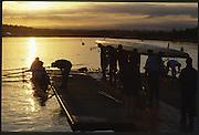 Sydney. AUSTRALIA. 2000 Summer Olympic Regatta, Penrith. NSW.  <br /> <br /> Sunrise at the  Sydney International Regatta Centre (SIRC), as crews boat to start there training sessions.<br /> <br /> [Mandatory Credit Peter SPURRIER/ Intersport Images] Sydney International Regatta Centre (SIRC) 2000 Olympic Rowing Regatta00085138.tif