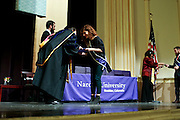 SHOT 5/10/15 3:10:42 PM - Naropa University Spring 2015 Commencement ceremonies at Macky Auditorium in Boulder, Co. Sunday. Parker J. Palmer, a world-renowned author and activist known for his work in education and social change, delivered the commencement speech to more than 300 graduate and undergraduate students along with Naropa faculty and graduate's family members. Naropa University is a private liberal arts college in Boulder, Colorado founded in 1974 by Tibetan Buddhist teacher and Oxford University scholar Chögyam Trungpa. (Photo by Marc Piscotty / © 2014)