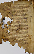 Cairo Geniza - Fragment from the Talmud an ancient Jewish text from the 11th century. Manuscript written on parchment in Oriental handwriting