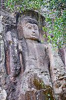 Sri Lanka, province d'Uva, Environs de Ella, Dowa Rock Temple, statue de Bouddha sculptée dans la roche // Sri Lanka, Ceylon, Central Province, Ella, Dowa Rock Temple, Buddha statue carved in a rock