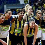 Fenerbahce's players celebrate victory during their Turkish Basketball woman league derby match Fenerbahce between Galatasaray at Ulker Sports Arena in Istanbul, Turkey, wednesday, December 26, 2012. Photo by Aykut AKICI/TURKPIX