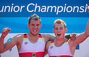 Hamburg. GERMANY.   GER JM2X, Phiipp SYRING and Max APPEL, celebrate after winning the final at the 2014 FISA Junior World rowing. Championships.  14:21:55  Sunday  10/08/2014  [Mandatory Credit; Peter Spurrier/Intersport-images] 2014. Empacher. Hamburg.