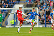 Fleetwood Town Midfielder, George Glendon (18) and Portsmouth Midfielder, Stuart O'Keefe (7) during the EFL Sky Bet League 1 match between Portsmouth and Fleetwood Town at Fratton Park, Portsmouth, England on 16 September 2017. Photo by Adam Rivers.