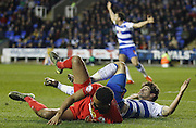 Reading players appeal for the penalty kick to be given during the Sky Bet Championship match between Reading and Blackburn Rovers at the Madejski Stadium, Reading, England on 20 December 2015. Photo by Andy Walter.