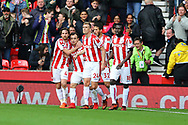 Xherdan Shaqiri of Stoke City (2l) celebrates with his teammates after scoring his teams 1st goal to make it 1-1. Premier league match, Stoke City v Leicester City at the Bet365 Stadium in Stoke on Trent, Staffs on Saturday 4th November 2017.<br /> pic by Chris Stading, Andrew Orchard sports photography.