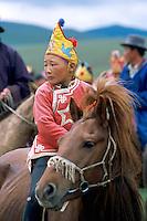 Mongolie, Oulaan Bator, Fete du Naadam, Course de chevaux. // Mongolia, Ulan Bator, Horses race for the Naadam festival