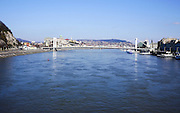 Hungary, Budapest, The Danube River The Chain Bridge