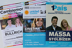 October 14, 2017 - Buenos Aires, Buenos Aires, Argentina - In October 22, voters head to the polls for midterm elections, where a third of the Senate and around half the seats in the lower house of congress are in play. The elections will take place during the presidency of Mauricio Macri whose Cambiemos coalition also controls the city of Buenos Aires and Buenos Aires Province. Oposition are divided in two main groups; Unidad Ciudadana, lead by the former president Cristina Fernández de Kirchner and 1Pais,  lead  by Sergio Massa. (Credit Image: © Claudio Santisteban via ZUMA Wire)