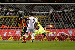 October 10, 2017 - Bruxelles, Belgique - Ed scores and Antonis Giorgallidis goalkeeper of Cyprus (Credit Image: © Panoramic via ZUMA Press)