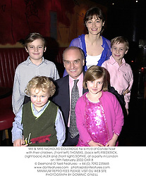 MR & MRS NICHOLAS COLERIDGE he is m/d of Conde Nast with their children, (Front left) THOMAS, (back left) FREDERICK, (right back) ALEX and (front right) SOPHIE, at a party in London on 18th February 2002.OXR 8