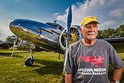Joe Shepherd with his Lockheed 12A Electra Junior, which he flies often.  <br />