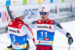 February 22, 2019 - Seefeld In Tirol, AUSTRIA - 190222 Jan Schmid of Norway and Espen Bjørnstad of Norway celebrate after competing in men's nordic combined 10 km Individual Gundersen during the FIS Nordic World Ski Championships on February 22, 2019 in Seefeld in Tirol..Photo: Joel Marklund / BILDBYRÃ…N / kod JM / 87882 (Credit Image: © Joel Marklund/Bildbyran via ZUMA Press)