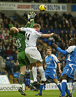 Photo: Aidan Ellis.<br /> Bolton Wanderers v Wigan Athletic. The Barclays Premiership. 04/11/2006.<br /> Wigan keeper Chris Kirkland is caught by an elbow from Bolton's Kevin Davis