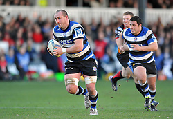 Carl Fearns (Bath) in possession - Photo mandatory by-line: Patrick Khachfe/JMP - Tel: Mobile: 07966 386802 11/01/2014 - SPORT - RUGBY UNION -  Rodney Parade, Newport - Newport Gwent Dragons v Bath - Amlin Challenge Cup.