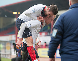 Falkirk's Luke Leahy over scorer Falkirk's Mark Beck at the end.<br /> Dundee 0 v 1 Falkirk, Scottish Championship game played today at Dundee's Dens Park.<br /> © Michael Schofield.