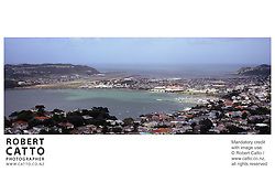 A panoramic view over Haitaitai, Kilbirnie, Lyall Bay and Evans Bay from the summit of Mount Victoria, Wellington.<br />