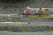 2006 FISA World Cup, Lucerne, SWITZERLAND, 07.07.2006. Women's Double Sculls, USA W2X, bow Brett SICKLER and Susan FRANCIA.  Photo  Peter Spurrier/Intersport Images email images@intersport-images.com.[Friday Morning]...[Mandatory Credit Peter Spurrier/Intersport Images... Rowing Course, Lake Rottsee, Lucerne, SWITZERLAND.