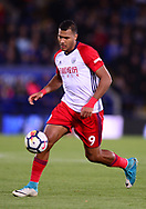 Solomon Rondon of West Bromwich Albion in action .Premier league match, Leicester City v West Bromwich Albion at the King Power Stadium in Leicester, Leicestershire on Monday 16th October 2017.<br /> pic by Bradley Collyer, Andrew Orchard sports photography.